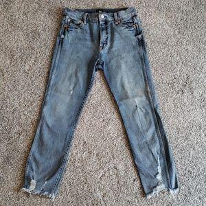 GAP Jeans, High Waist Cropped, Distressed Hem 29